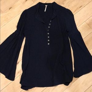 Free people blouse navy size small